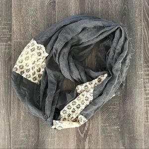 Denim with cream lace infinity scarf